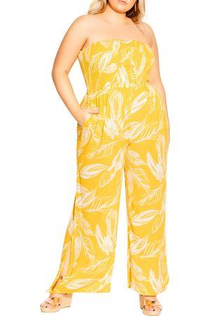 City Chic Plus Size Women's Sunshine Print Wide Leg Jumpsuit