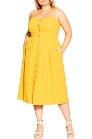 City Chic Plus Size Women's Sleeveless Scallop Button Dress