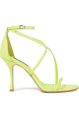 ALICE+OLIVIA Woman Deidra Neon Lizard-effect Leather Sandals Chartreuse Size 10