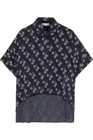 ALICE + OLIVIA Woman Edyth Asymmetric Floral-print Burnout Satin Shirt Size L