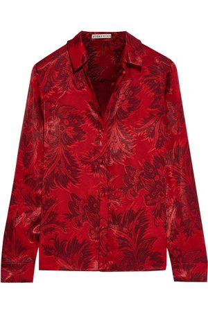 ALICE + OLIVIA Woman Eloise Printed Burnout Crepe De Chine Shirt Crimson Size S