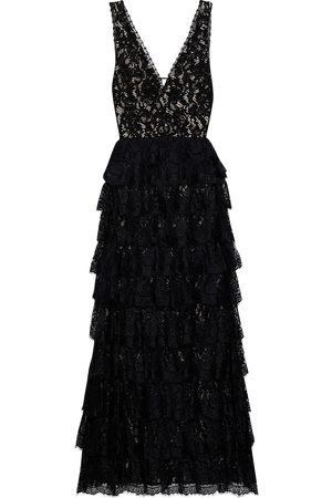 ALICE + OLIVIA Woman Devora Tiered Embellished Lace Gown Size 0