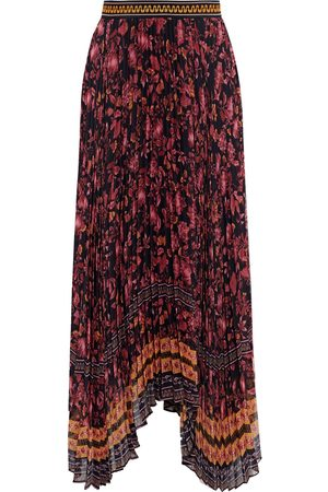 ALICE + OLIVIA Women Printed Skirts - Woman Katz Asymmetric Floral-print Plissé-crepon Maxi Skirt Size 0