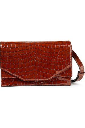 GANNI Women Wallets - Woman Croc-effect Patent-leather Shoulder Bag Size