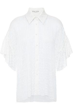 ALICE + OLIVIA Woman Edyth Asymmetric Ruffled Burnout Seersucker Shirt Size L