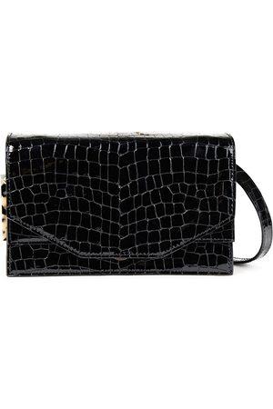 GANNI Woman Croc-effect Patent-leather Shoulder Bag Size