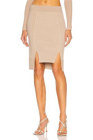 JONATHAN SIMKHAI Martha High Low Knit Skirt in Taupe