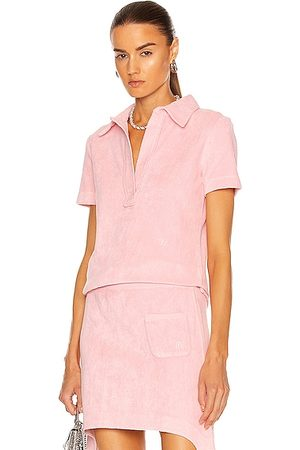 Helmut Lang Towel Terry Polo Top in Pink