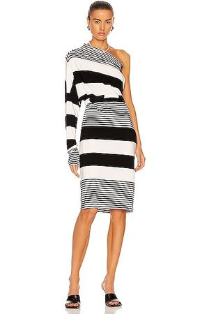Norma Kamali Spliced All in One Dress in Black,White