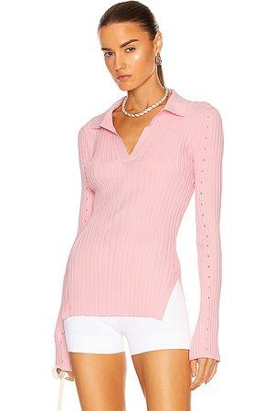 Helmut Lang Women Polo Shirts - Slash Polo Top in Pink