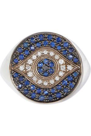 Ileana Makri Dawn Chevalier 18kt white gold ring with diamonds and sapphires