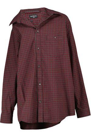 Balenciaga Off-shoulder tartan cotton poplin shirt