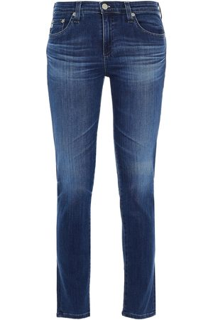 AG Jeans Woman Prima Ankle Faded Mid-rise Skinny Jeans Dark Denim Size 24