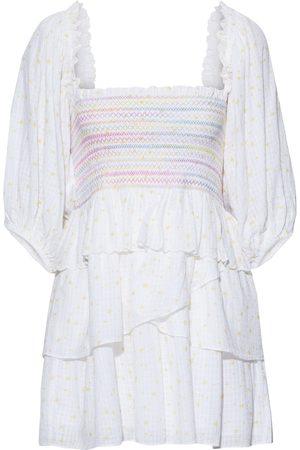 LOVESHACKFANCY Women Party Dresses - Woman Shaw Tiered Printed Cotton-jacquard Mini Dress Size S