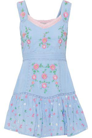 LOVESHACKFANCY Woman Channing Ruffled Embroidered Cotton-jacquard Mini Dress Light Size 2