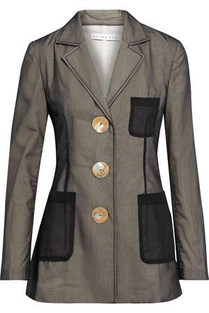 REJINA PYO Women Blazers - Woman Sophie Layered Chiffon And Cotton And Linen-blend Blazer Dark Size 6