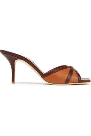 MALONE SOULIERS Women Heeled Sandals - Woman Perla 70 Two-tone Leather Sandals Tan Size 37.5