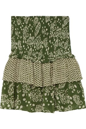 CECILIE COPENHAGEN Woman Tess Tiered Paneled Printed Crepe Mini Skirt Army Size M
