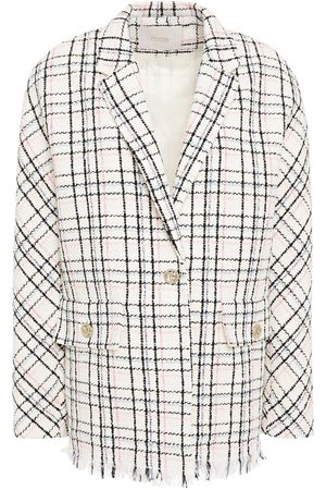 MAJE Woman Vianey Frayed Checked Cotton-blend Bouclé-tweed Blazer Off- Size 40