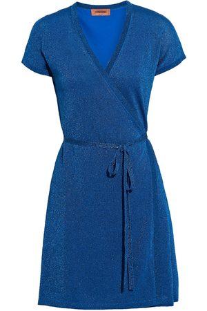 Missoni Women Party Dresses - Woman Metallic Crochet-knit Mini Wrap Dress Cobalt Size 44