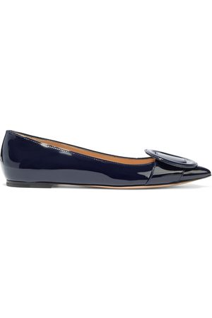 Gianvito Rossi Women Flat Shoes - Woman Ruby Buckle-embellished Patent-leather Point-toe Flats Midnight Size 34
