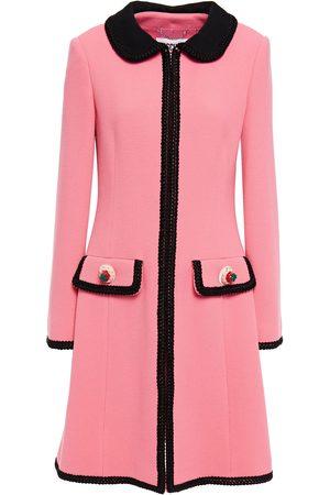 Moschino Women Coats - Woman Embellished Wool-blend Crepe Coat Size 40