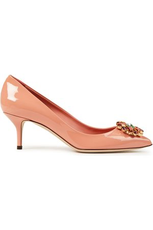 DOLCE & GABBANA Women Heeled Pumps - Woman Crystal-embellished Patent-leather Pumps Peach Size 39