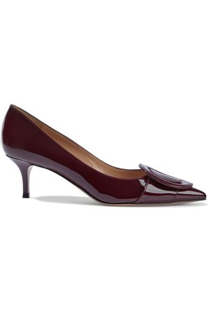 GIANVITO ROSSI Women Heeled Pumps - Woman Ruby 55 Buckle-embellished Patent-leather Pumps Burgundy Size 34.5