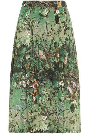 Alberta Ferretti Women Printed Skirts - Woman Pleated Printed Silk Crepe De Chine Midi Skirt Leaf Size 38