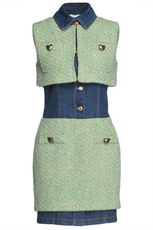 Moschino Women Party Dresses - Woman Denim-paneled Wool-blend Bouclé-tweed Mini Dress Light Size 38