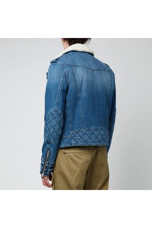 Balmain Men Leather Jackets - Men's Sherpa Biker Denim Jacket