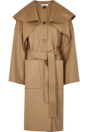 Loewe Camel layered wool-blend coat