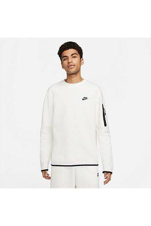 Nike Men Sweatshirts - Men's Sportswear Tech Fleece Crewneck Sweatshirt in Grey/Sail Size X-Small Cotton/Polyester/Fleece