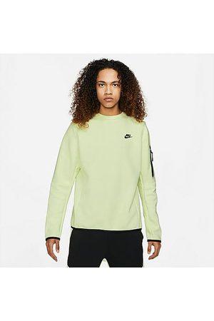 Nike Men Sweatshirts - Men's Sportswear Tech Fleece Crewneck Sweatshirt in /Lime Ice Size X-Small Cotton/Polyester/Fleece