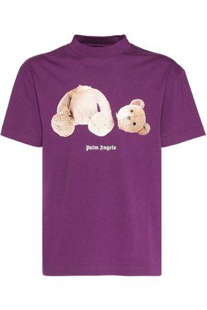 Palm Angels Men T-shirts - Logo & Bear Print Cotton Jersey T-shirt