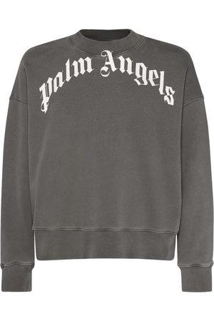 Palm Angels Men Sweatshirts - Curved Logo Cotton Jersey Sweatshirt