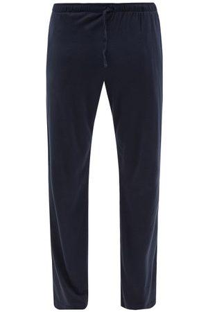 Sunspel Men Pajamas - Drawstring-waist Cotton-blend Pyjama Trousers - Mens - Navy