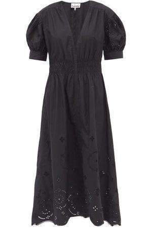 Ganni Broderie-anglaise Organic-cotton Midi Dress - Womens