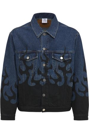 Vetements Men Denim Jackets - Black Fire Cotton Denim Jacket