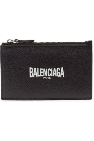 Balenciaga Logo-print Zipped Grained-leather Cardholder - Mens