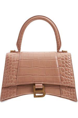 Balenciaga Hourglass Croc Embossed Leather Bag