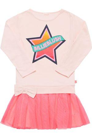 Billieblush Logo Print Cotton Jersey & Tulle Dress