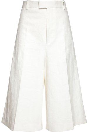 Bottega Veneta Wide Leg Linen Bermuda Shorts