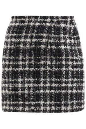 Alessandra Rich High-rise Check Wool-blend Tweed Mini Skirt - Womens