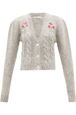 Alessandra Rich Floral-embroidered Alpaca-blend Cropped Cardigan - Womens - Light Grey