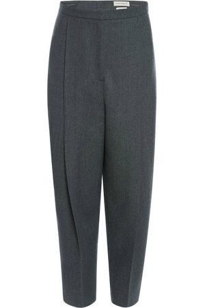 Alexander McQueen Pegged Twill Trousers - Womens - Grey