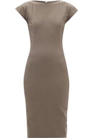 Rick Owens Easy Sarah Zip-back Cotton-blend Midi Dress - Womens - Grey