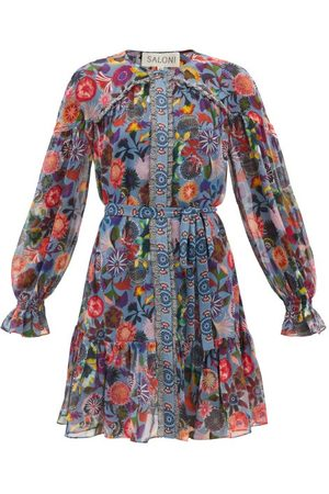 SALONI Women Printed Dresses - Pixie Floral-print Ruffle-hem Silk Dress - Womens - Multi