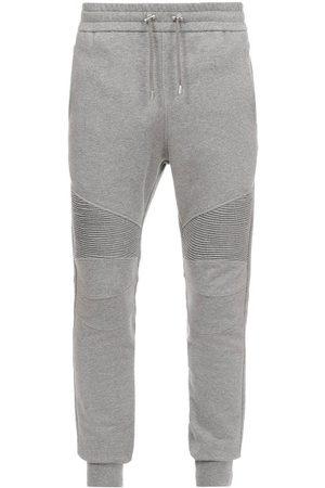 Balmain Men Sweatpants - Ribbed-panel Cotton-jersey Track Pants - Mens - Grey
