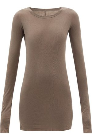 Rick Owens Round-neck Cotton-jersey Long-sleeved T-shirt - Womens - Grey